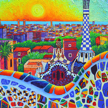 SUN AND MOON - Sunscapes and Moonscapes modern impressionist textural impasto knife oil paintings Collection