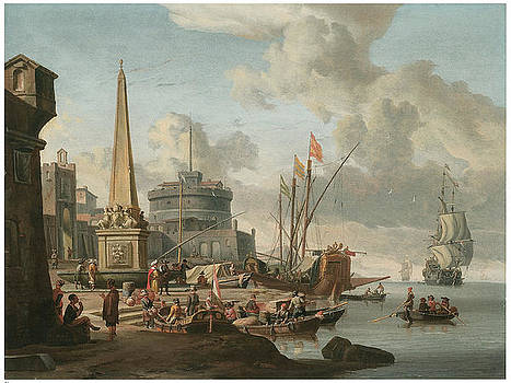 Abraham Storck - A Fortified Mediterranean Port with an Obelisk