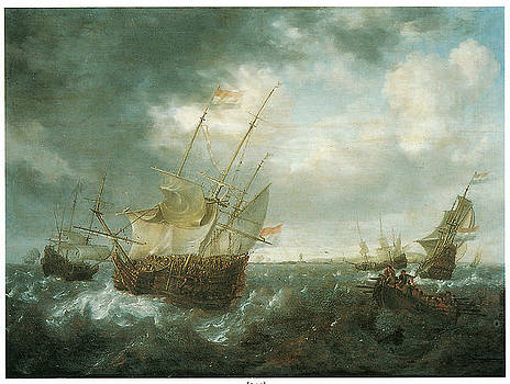 Jan Peeters - A Man-of-War Lowering Sails as a Storm Approaches