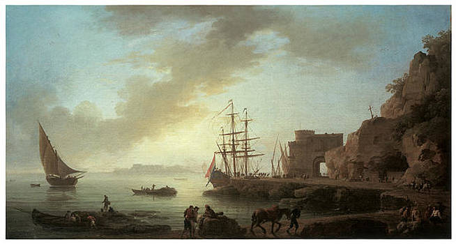 Claude-Joesph Vernet - A Mediterranean Port at Dawn
