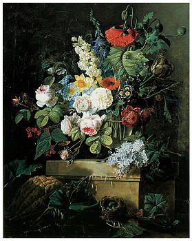 Pierre-Joseph Redoute - An Elaborate Still life of Flowers
