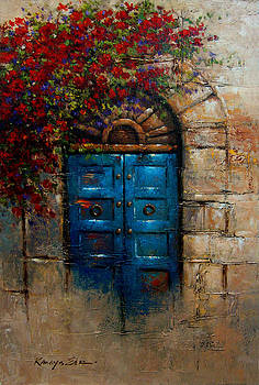 Kanayo Ede - Blue Door - Italian door with rose bush from Tuscany print