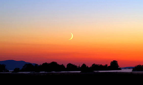 Douglas Taylor - CRESCENT MOON AT SUNSET  - LUMMI BAY