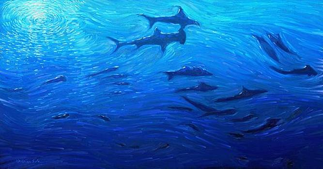 Kanayo Ede - Deep Blue - School of sharks in a deep sea ocean