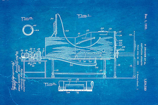 Ian Monk - Drinker Iron Lung Patent Art 1931 Blueprint