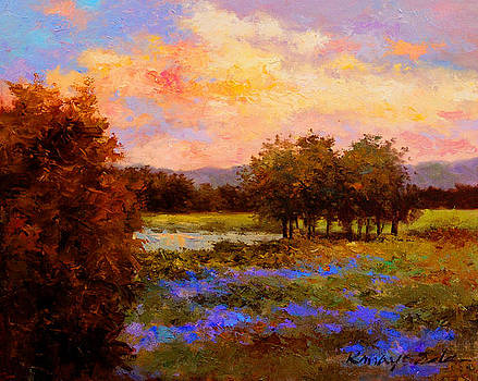 Kanayo Ede - Evening Blue - Landscape painting