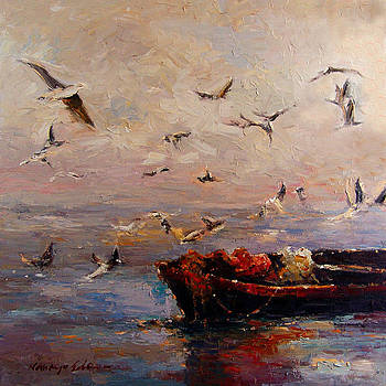 Kanayo Ede - Evening meeting - dramatic tropical fishing boat and birds painting