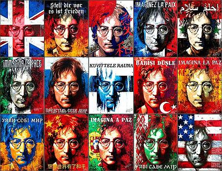 Vitaliy Shcherbak - Fifteen paintings on canvas from the series- John Lennon-The Man Of Peace And The World