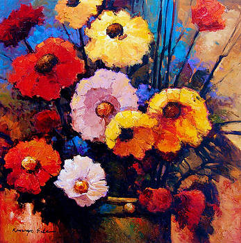 Kanayo Ede - Flower bucket - colorful red yellow and pink flowers.