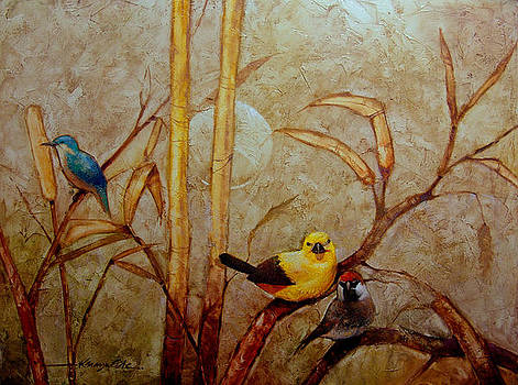 Kanayo Ede - Morning Sun - colorful birds in a golden background art print