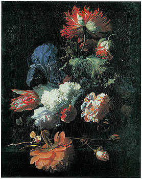 Simon Pietersz Verelst - Opium Poppy and Other Flowers in a Glass Vase