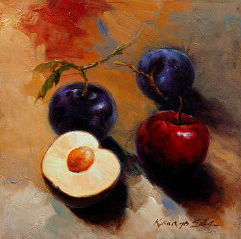 Kanayo Ede - Plums and Nectarines - Luscious fruit painting