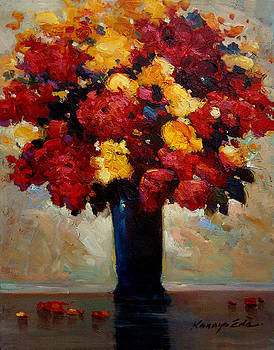Kanayo Ede - The Blue Vase - Bouquet of red and yellow flowers art
