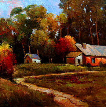 Kanayo Ede - The Red Barn - bright colored landscape print