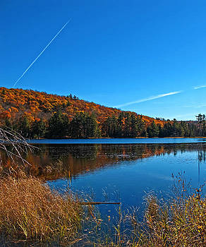 Chantal PhotoPix - Fall Forest Foliage Reflecting on a Blue Lake and Wetlands - Airplane Vapour Trails - Autumn Colors