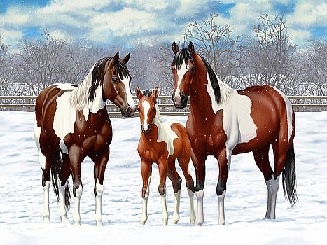 Crista Forest - Bay Paint Horses In Winter