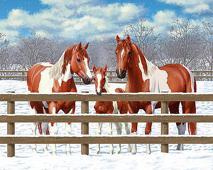 Crista Forest - Chestnut Paint Horses In Snow