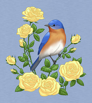Crista Forest - Eastern Bluebird and Yellow Roses