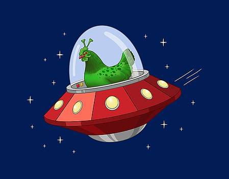 Crista Forest - Funny Green Alien Martian Chicken In Flying Saucer
