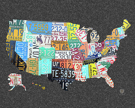 Amazoncom Poster Service License Plate Map Of The US Poster 24