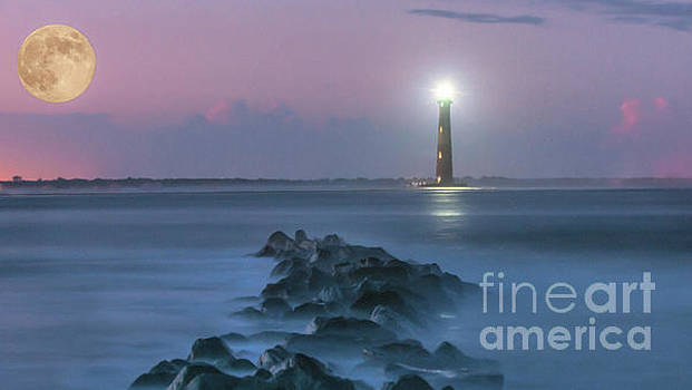 Dale Powell - Moon Light over Morris Island Lighthouse