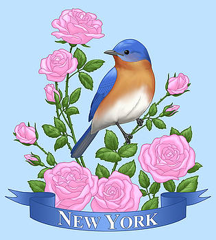 Crista Forest - New York Bluebird and Pink Roses