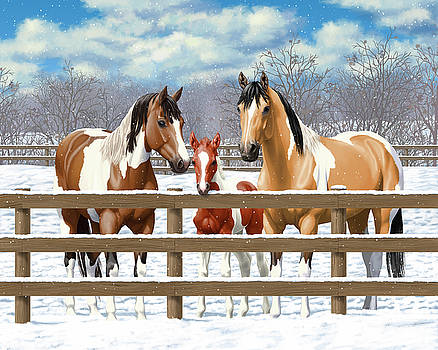 Crista Forest - Paint Horses In Winter Corral