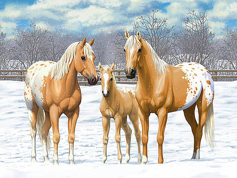 Crista Forest - Palomino Appaloosa Horses In Winter