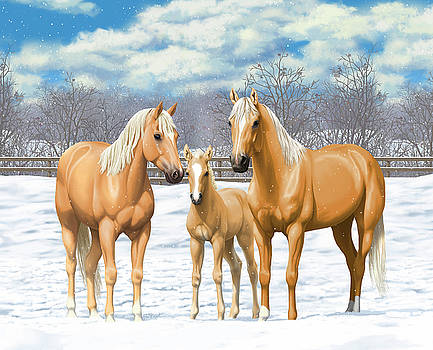 Crista Forest - Palomino Horses In Winter Pasture