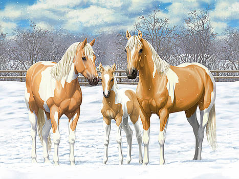 Crista Forest - Palomino Paint Horses In Winter Pasture