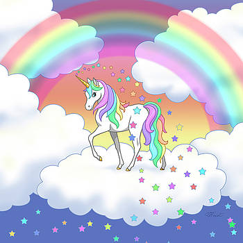 Crista Forest - Rainbow Unicorn Clouds and Stars