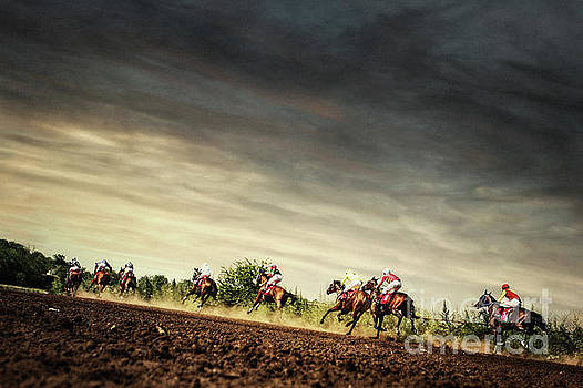 Dimitar Hristov - Running horses competition on the stormy sky