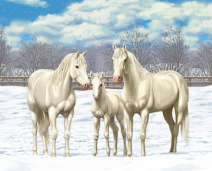 Crista Forest - White Horses In Winter Pasture